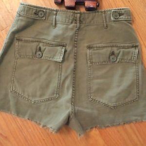 BDG olive green cutoff shortsflap pockets size 27